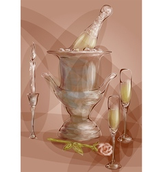 champagne with red rose vector image