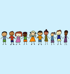 Children from all over the world holding hands vector