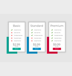 Clean business plans and pricing table display vector
