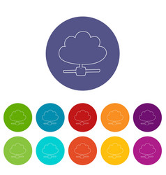 cloud database icon outline style vector image