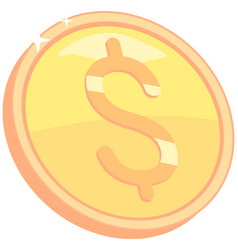 Coin with dollar sign gold in form penny vector