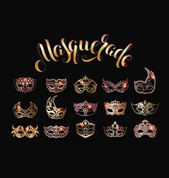 Collection gold masquerade masks vector