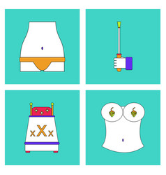 Collection with sex subject icons with thin black vector