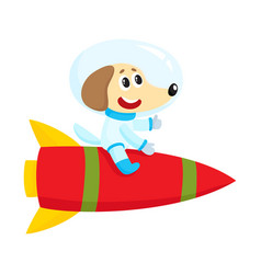 cute little dog puppy astronaut spaceman vector image