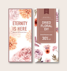 Dried floral flyer design with rose anemone fern vector