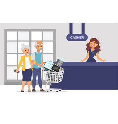 Elderly couple buy small appliance in store vector