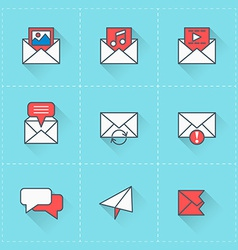 Email icons icon set in flat design style For web vector