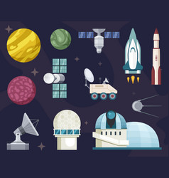 explore travel in space set star observatories vector image