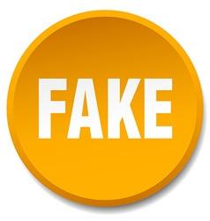 fake orange round flat isolated push button vector image