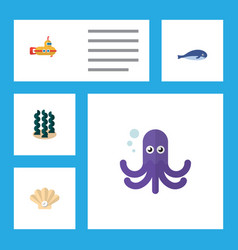 Flat icon marine set of tentacle conch cachalot vector