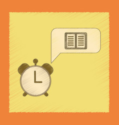 Flat shading style icon book alarm clock vector