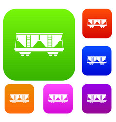 Freight railroad car set collection vector