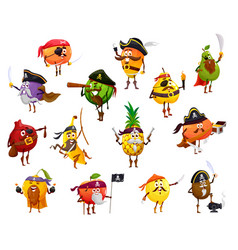 Fruit pirate corsair and buccaneer characters vector