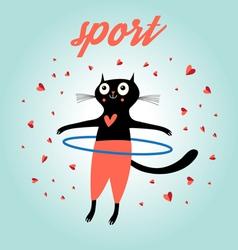 Funny cat sports vector
