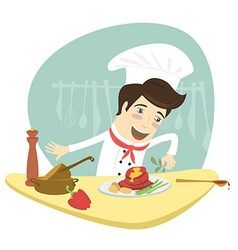 Funny chef cooking meat dish in the kitchen vector image