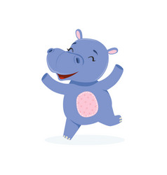 Funny happy baby hippo character jumping cute vector