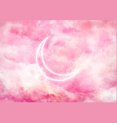 Galaxy background with moon in neon vector