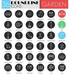 garden tools circle white black icon set vector image