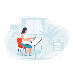 Girl working at home office vector