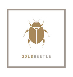Gold beetle in a frame emblem vector