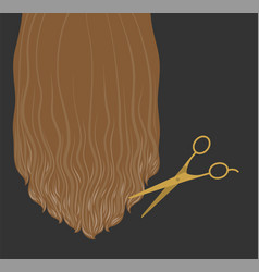 Hair design long blonde hair and scissors vector