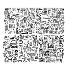 Hand draw business doodles icon design vector