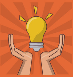 Hand holding lightbulb idea inspiration creative vector