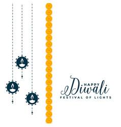 Happy diwali festival decorative card design vector