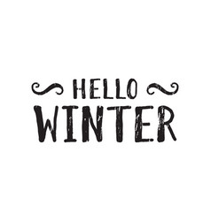 hello winter inscription vector image