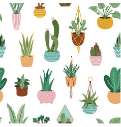 Home plants pattern seamless flower potted plant vector