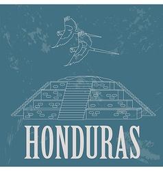 Honduras landmarks Copan Ruinas ara parrot Retro vector