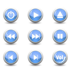 icon button setfor control panel isolated on vector image