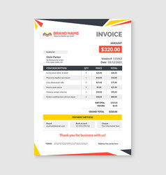 invoice minimal design template bill form vector image