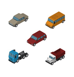 isometric car set of freight truck car and other vector image