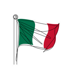 italian flag continuous line vector image