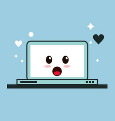 Laptop kawaii cartoon funny cute icon vector