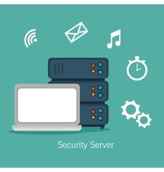 laptop security server media network vector image