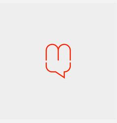 Letter m chat logo template design vector