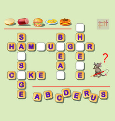 Logic crossword puzzle game for kids to study vector