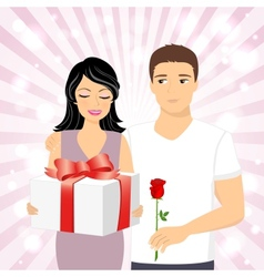 Man giving gift to girl vector