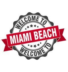 miami beach round ribbon seal vector image