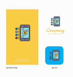 Money through smartphone company logo app icon vector