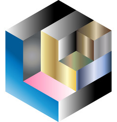 multi gradient isometric cube vector image