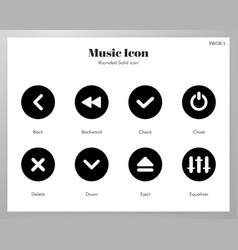 Music icons rounded solid pack vector