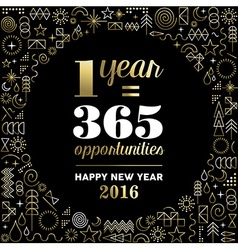 New Year 2016 inspiration quote poster gold vector