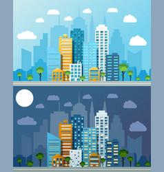 night and day cityscapes composition vector image