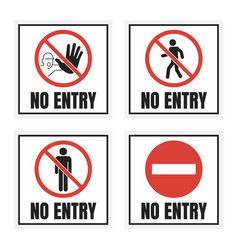 No entry label set access sign with man vector