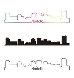Norfolk skyline linear style with rainbow vector