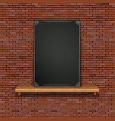 old brick wall shelf black board vector image