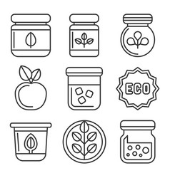organic farm food icons set on white background vector image